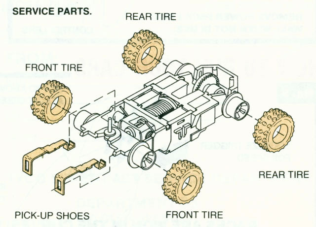 Exploded view of Tyco Racin' Bandits HO Slot Car Chassis