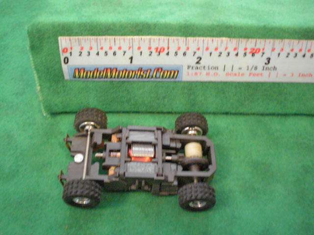Top view of Tyco Racin' Bandits HO Slot Car Chassis