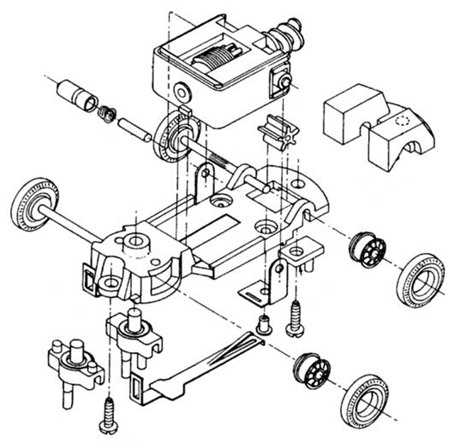 Exploded view of Tyco S Steering HO Slot Car Chassis