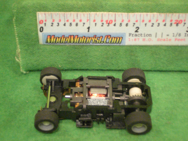 Top view of Tyco HP-440-X2 Sparkin' Rod HO Slot Car Chassis