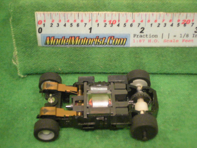 Bottom view ofTyco HP-440-X2 Sparkin' Rod HO Slot Car Chassis