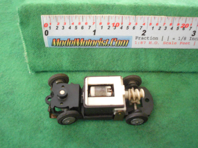 Top view of Tyco S Steering HO Slot Car Chassis