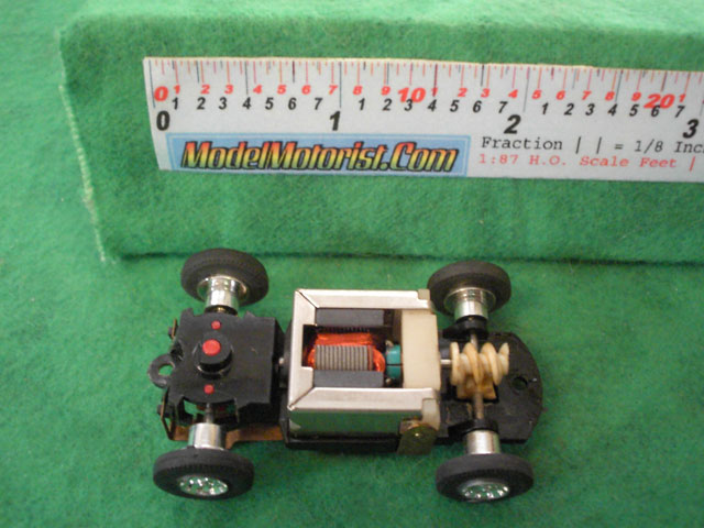 Top view of Tyco S HO Slot Car Chassis