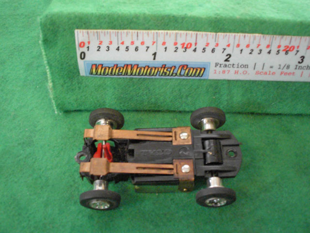 Bottom view of Tyco S HO Slot Car Chassis
