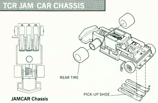 Exploded view of Tyco Total Control Racing Jam Car HO Slotless Car Chassis