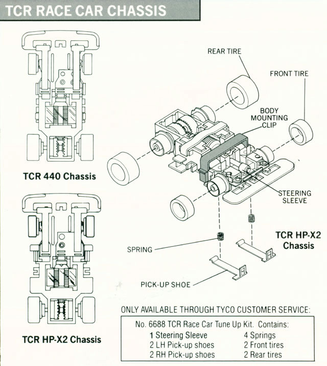 Exploded view of Tyco Total Control Racing Passing Car Narrow A Chassis