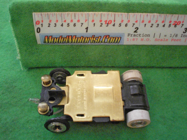Bottom view of Tyco TycoPro II Lighted HO Slot Car Chassis