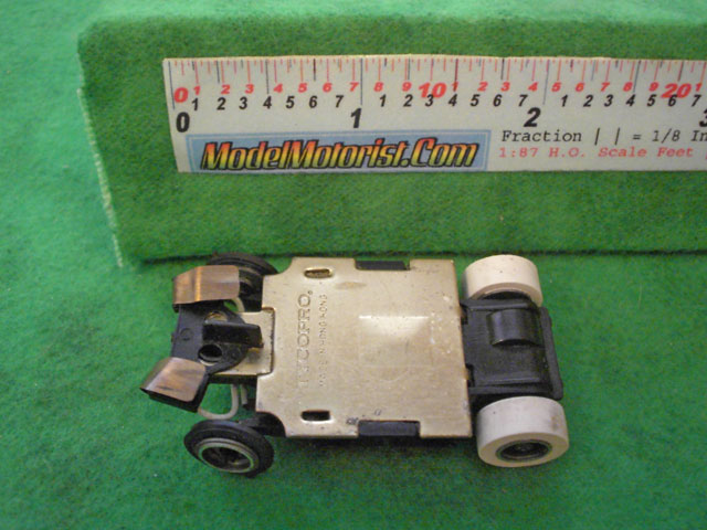Bottom view of Tyco TycoPro HO Slot Car Chassis