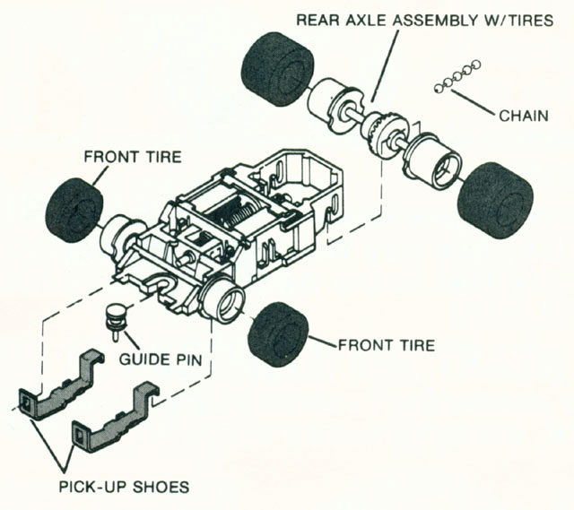 Exploded view of Tyco Turbo Train HO Engine Chassis