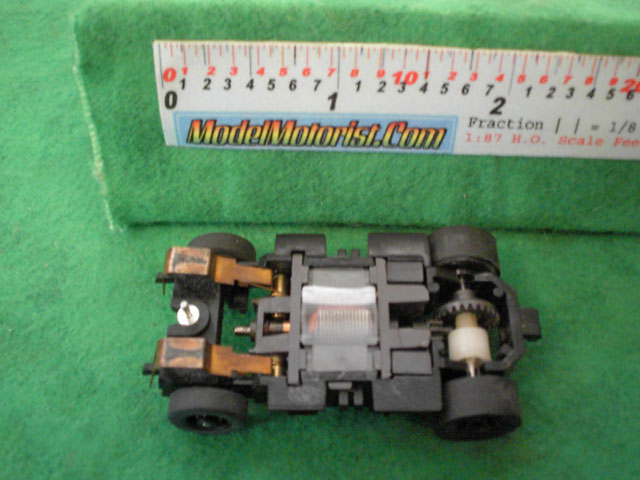 Bottom view of Tyco Turbo Train HO Engine Chassis