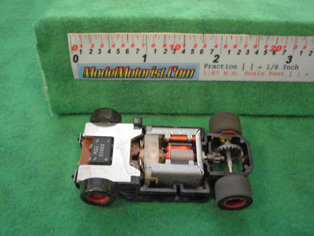 Top view of Tyco U-Turn HO Slot Car Chassis