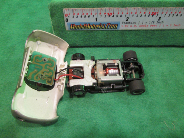 Top view of Tyco U-Turn Viper HO Slot Car Chassis