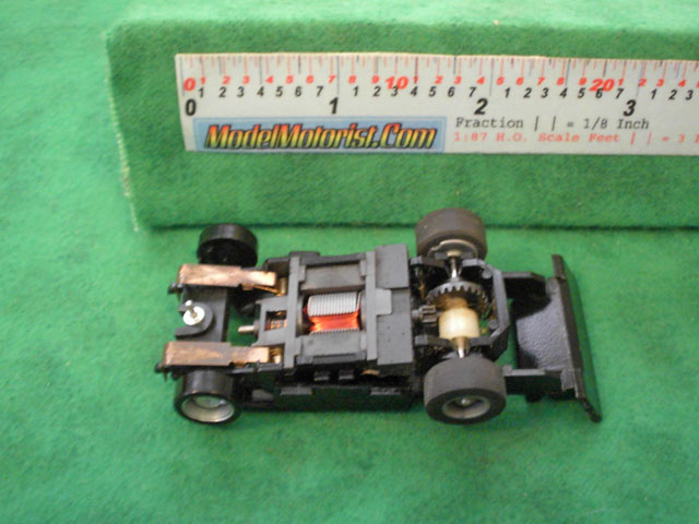 Bottom view of Tyco Wheelie 440 HO Slot Car Chassis