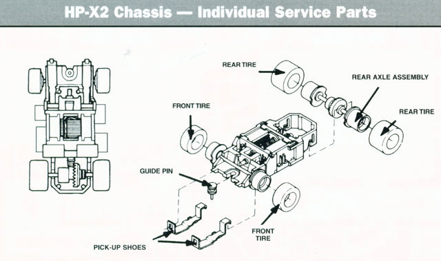 Exploded view of Tyco HP-440-X2 Narrow HO Slot Car Chassis