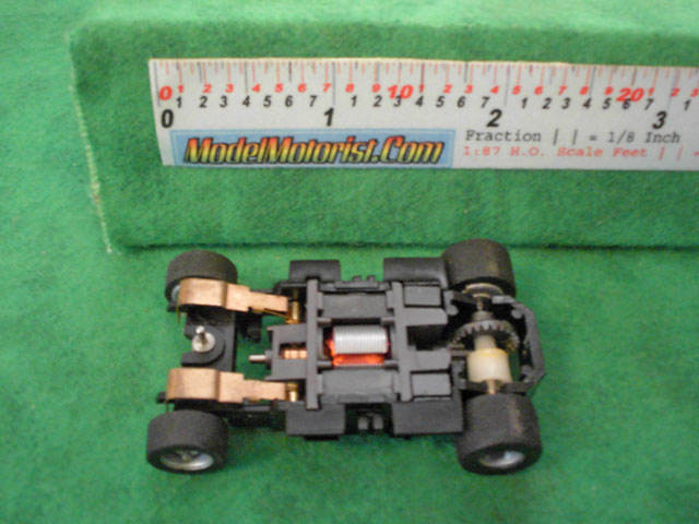 Bottom view of Tyco HP-440-X2 Wide HO Slot Car Chassis