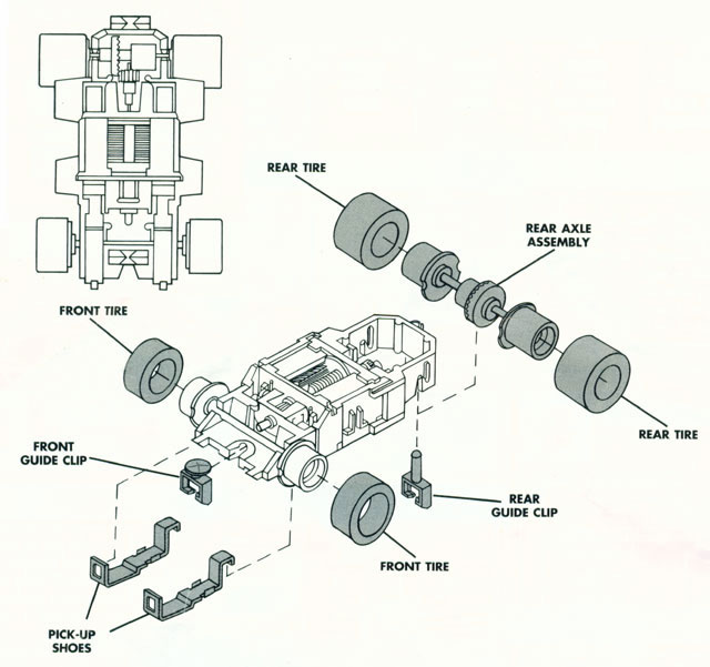 Exploded view of Tyco X-Treme HO Slot Car Chassis