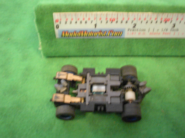 Bottom view of Tyco X-Treme HO Slot Car Chassis