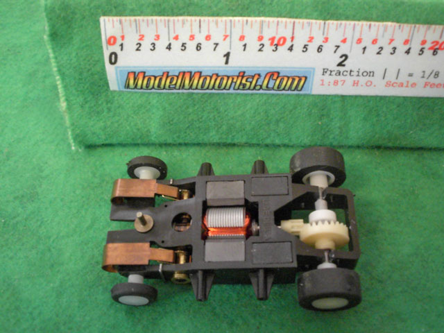 Bottom view of Wizzard Patriot 2 HO Slot Car Chassis