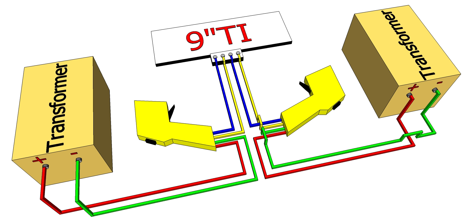 Four Lane Track using Two Clip On Terminals with Four Triggers wiring