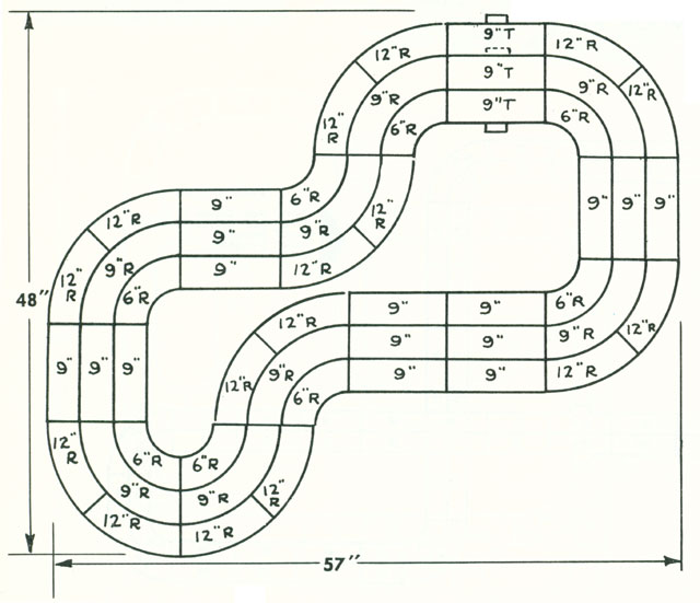 6 Lane Common Track HO Layout 1