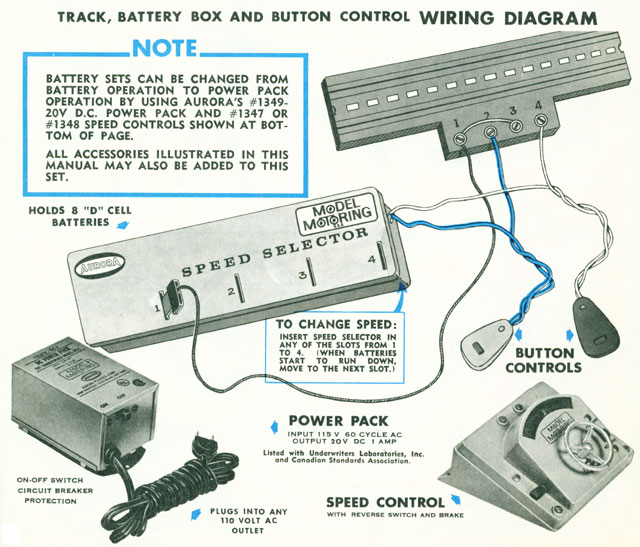 Two Lane Track with Two Battery Buttons wiring