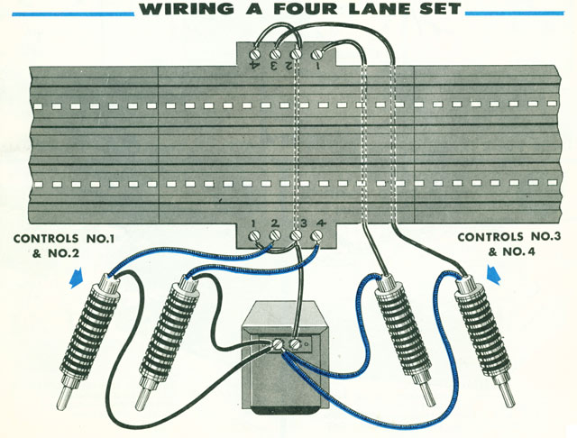 Four Lane Track with Four Plungers wiring